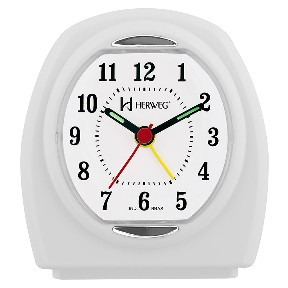 Despertador Relógio Herweg Oval Branco 2633 021