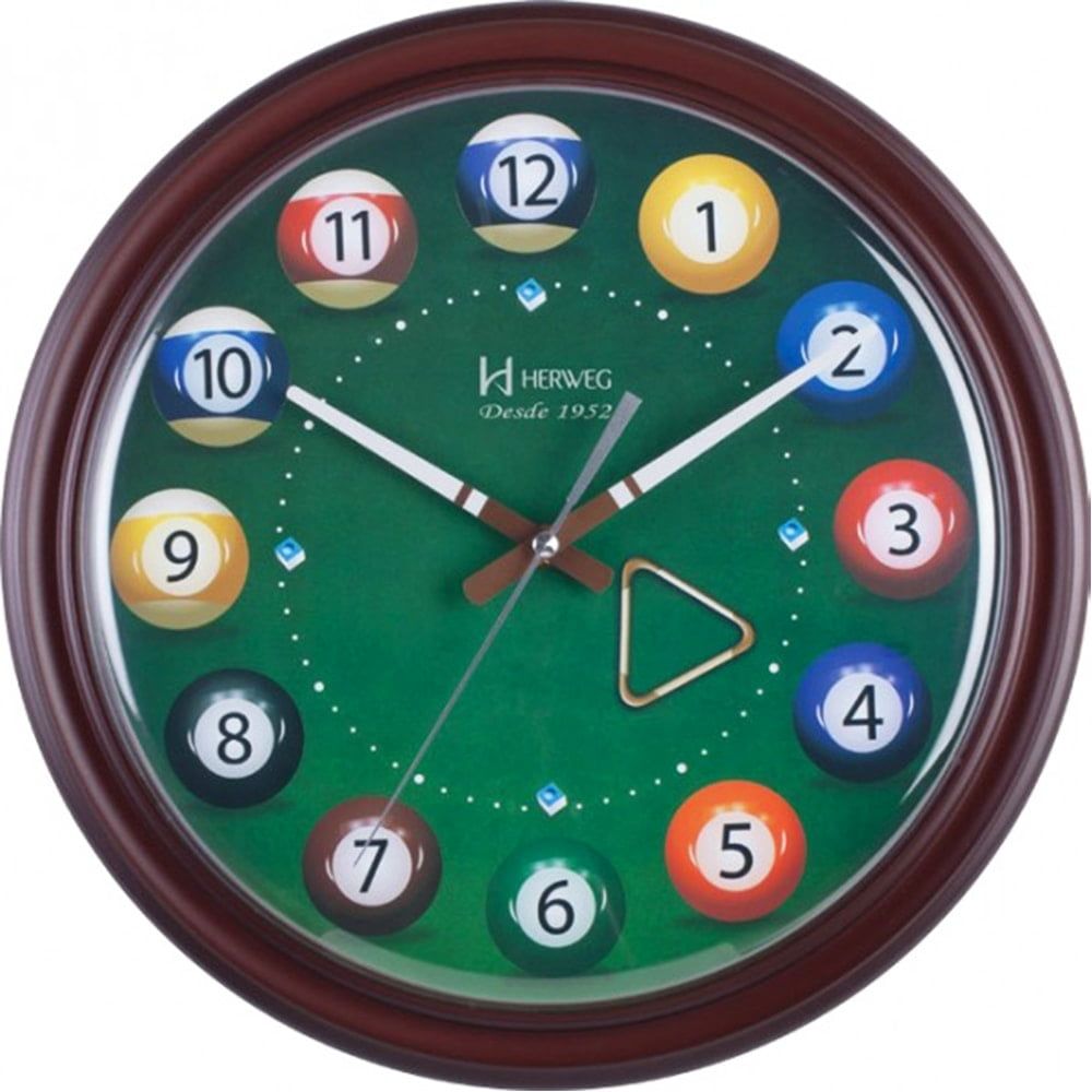 Relógio de Parede Bilhar Sinuca Decorativo Herweg Ipê 6469 084