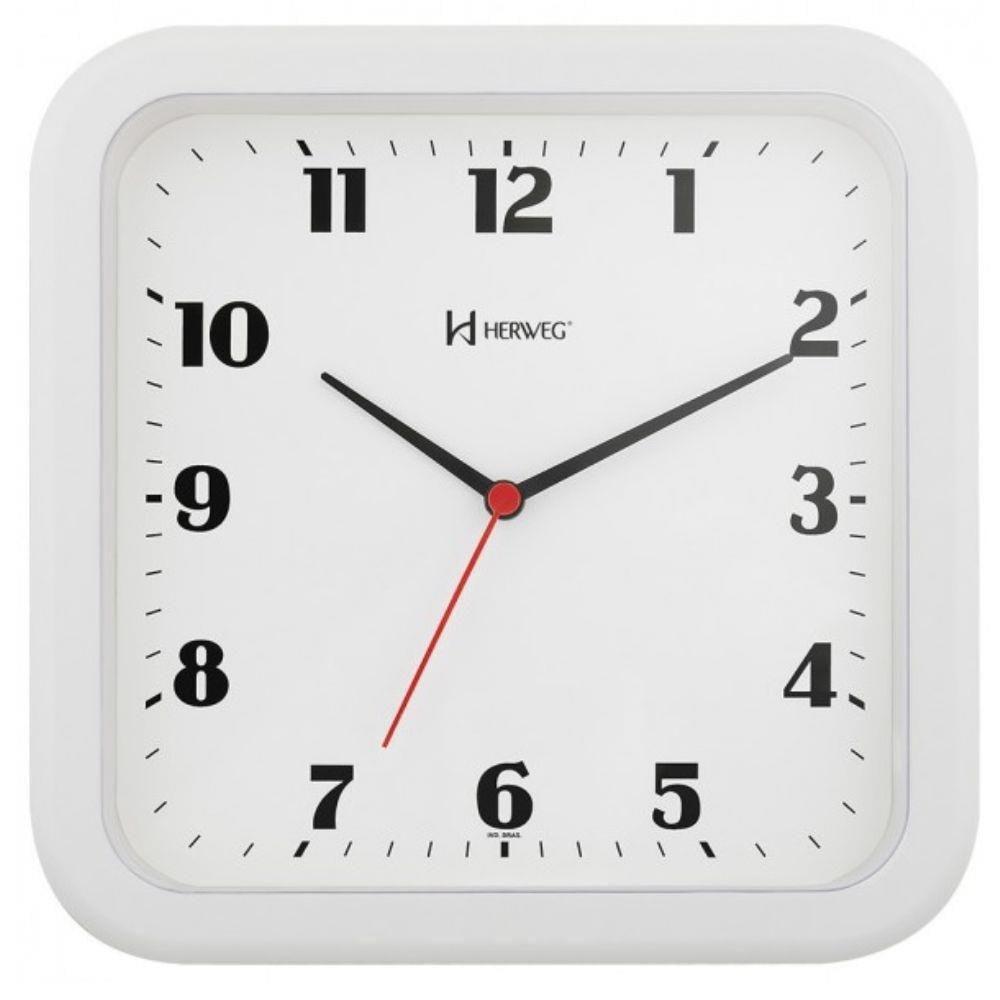 Relógio De Parede Quadrado Herweg Branco Quartz 6145 021