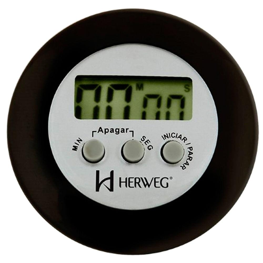 Timer Digital Herweg Preto Redondo 3308 034 Alarme e Imã Traseiro