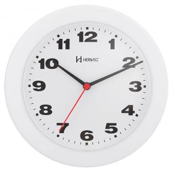 Relógio De Parede Barato Herweg Branco Analógico 22cm - 6103 021