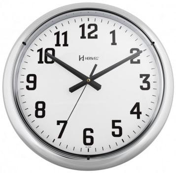 Relógio de Parede Grande Herweg Cromado Liso 40cm 6128 028