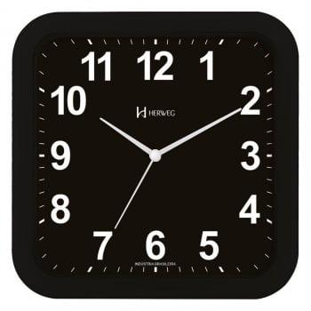 Relógio Parede Quadrado Preto Moderno Herweg 6670 034